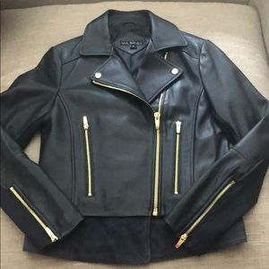 Via Spiga Genuine Leather Moto Jacket (S)